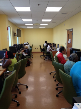 Community members utilize Public Computers at Turnbull Library on St. Thomas
