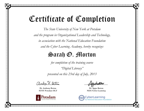 Sarah O Morton - Digital Literacy Certificate
