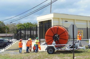 VI Next Generation Field Technicians at a Fiber Access Point (FAP) in St. Croix, Virgin Islands.