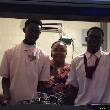 In the A/V booth with young engineers!