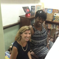 Sprauve Librarian Ashley Till with viNGN's Pamela Finley