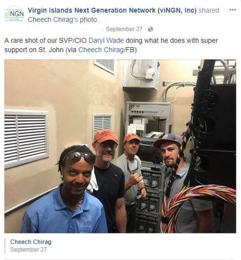 Cheech Chirag Facebook post including Daryl Wade working on St. John