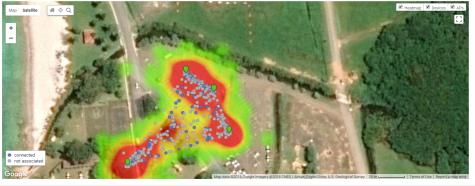 Heatmap: viNGN hotspots in use at Festival Village