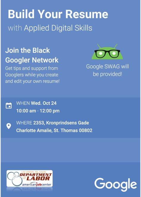 google resume workshop flyer